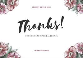 bridal shower thank you cards pink floral bridal shower thank you card templates by canva