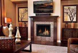 beige stone fireplace with beige fireplace base and brown wooden