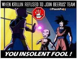 Krillin Meme - when krillin refused to join beerus team lly you insolent fool