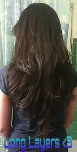 front and back views of chopped hair long layered haircuts back view v cut layers on pinterest bstaavsd
