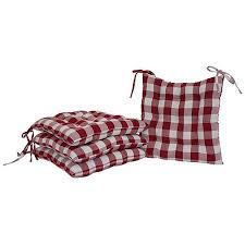 mainstays red plaid chair pad pack of 2 walmart com