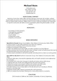Resume Of Construction Worker Professional Construction Safety Officer Templates To Showcase