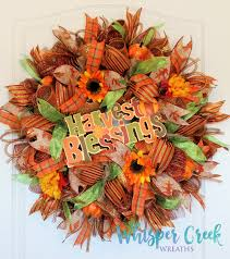fall deco mesh wreath harvest blessings deco mesh wreath fall