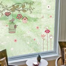 branch cage birds and flower wall sticker cartoon branch cage birds and flower wall sticker