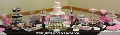 pink and brown baby shower and brown baby shower dessert table