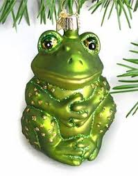 glass frog groom with ornament ornaments