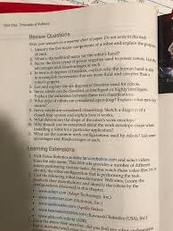 unit one principles of robotics review questions w chegg com
