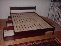 Raised Platform Bed Brown Wood High Raised Platform Bed Frame For Queen Size With Dark