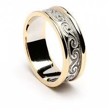 celtic wedding rings 14k white gold celtic wedding ring with yellow gold trim