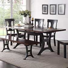 trestle base dining table industrial dining room table crown mark astor industrial dining