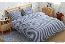 linen home home knitted cotton jersey duvet cover natural stripe