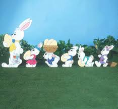 Easter Yard Decorations For Sale by Easter Bunny Parade Set Of 6 Bunnies Outdoor Wood Yard Art Lawn