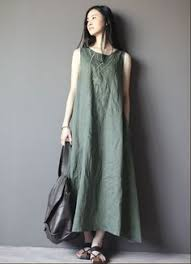 loose fitting maxi dress summer dress in black beige linen