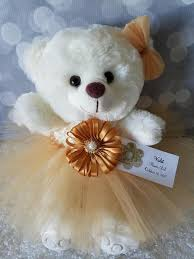 flower girl teddy gift flower girl gift teddy in gold tutu dress color the lovely
