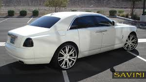 roll royce phantom white ghost savini wheels