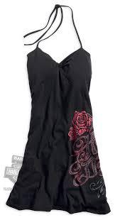 harley davidson womens roses pattern with rhinestones black dress