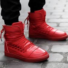 click to buy personality ankle boots low heel cool fashion personality high top casual shoes sneakers mens