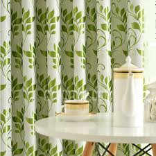 Lime Green Blackout Curtains Leaf Pattern Thick Insulated Polyester Blackout Curtains Panels