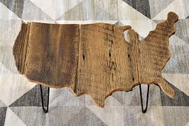 usa united states shaped coffee table reclaimed rustic barn wood