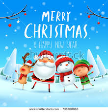merry happy companions santa stock vector