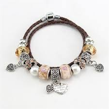 leather bracelet with silver charms images Charm braided leather bracelet gear delight jpg