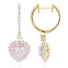 pink drop earrings unique luxurman drop earrings white pink diamond heart earrings