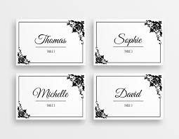 printable black white wedding place cards peculiar