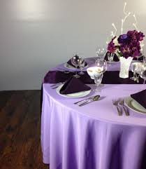 eggplant colored table linens a purple wedding tablescape