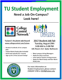 Resume For A Job Fair by Tulane University Student Employment International Students