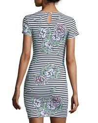 french connection floral striped short sleeve sheath dress lyst