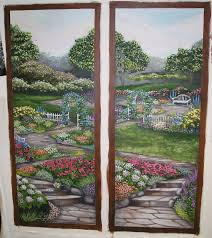 window scene wall murals ellen leigh above are two window wall murals painted on loose canvas they were cut out of the whole canvas and pasted onto two pocket doors in a narrow hallway