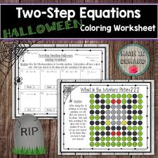 two step equations halloween coloring worksheet by math in demand