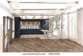 Kitchen Design Sketch Draft Kitchen Interior Kitchen Stock Images Royalty Free Images