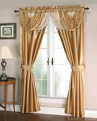 gold beige satin waterfall window curtain panels tie back set