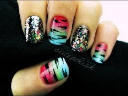 glitzy rainbow tiger nail art youtube
