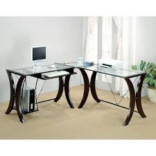 Kitchen Desk Furniture L Shape Computer Desk With Glass Top Desks Office Furniture In