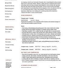 description of waitress duties for resume bartender resume