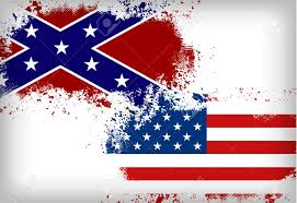 Civil War Rebel Flag Confederate Flag Vs Union Flag Civil War Concept Lizenzfrei