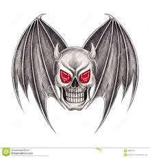 art skull wings devil tattoo stock illustration image 66890109