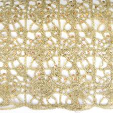 Gold Lace Table Runner Lurex Lace Sequins Fabric Champagne Party Table Overlay Fabric