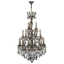 Crystal And Bronze Chandelier Worldwide Lighting Metropolitan Collection 5 Light Antique Bronze