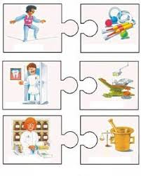 community helper puzzle worksheet 6 רצפים pinterest