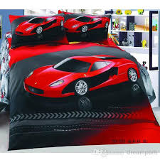 Ferrari Bed Red Car Cool Cotton Children Bedding Set Kid Nursery Bedding Flat