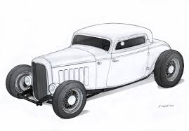 Antique Ford Truck Art - 1932 ford three window coupe rod drawing by vertualissimo on