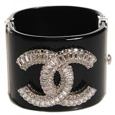 cuff bracelet black images Chanel resin crystal baguette cc wide cuff bracelet black 103281 jpg
