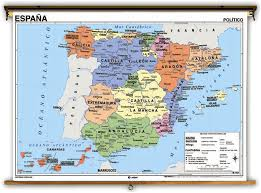 physical map of spain language spain political physical classroom maps on