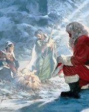 santa kneeling at the manger santa at manger wallpapers to your cell phone baby