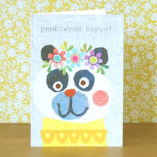 welsh birthday card panda by kali stileman publishing