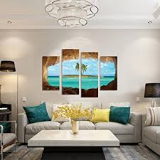 Posters For Living Room by Amazon Com Geves Framed 4 Panels Beautiful Ocean Island Painting