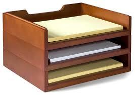 Wood Desk Accessories Bindertek Stacking Wood Desk Organizers 3 Letter Tray Kit Wooden